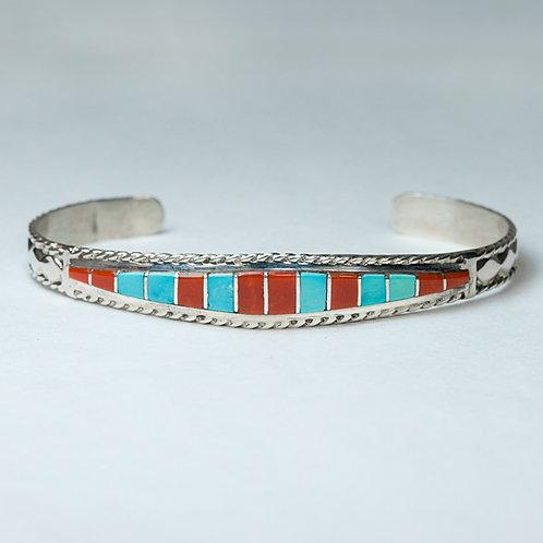 Zuni Sterling Inlaid Bracelet BR-0044