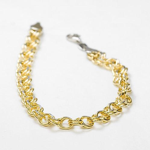 14k Sterling two tone Charm Bracelet