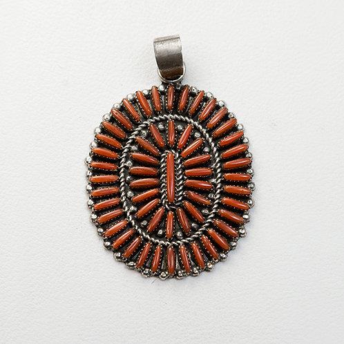 Zuni  Coral Needle Point Pendant PE-0014