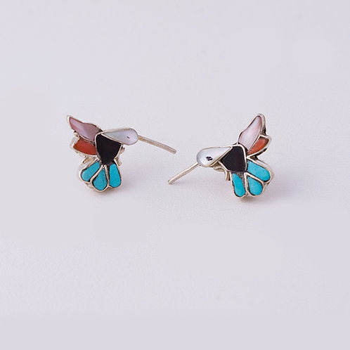 Zuni Multi Inlay Humming Bird Earrings ER-0082