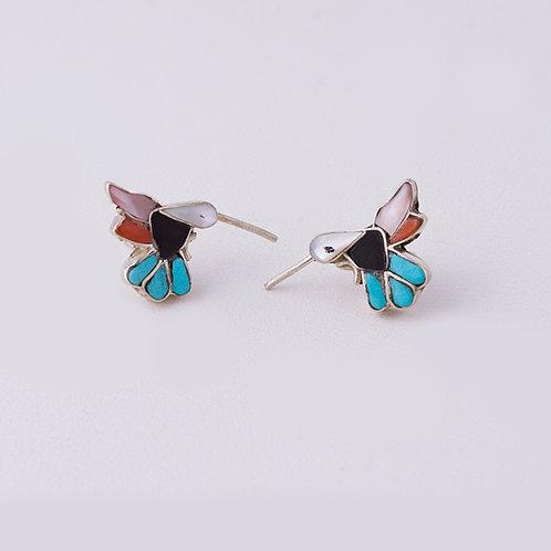 Zuni Multi Inlay Humming Bird Earrings ER-0082