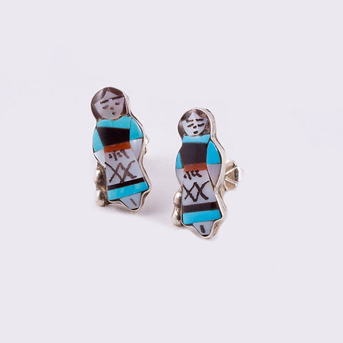 Zuni Multi Inlay Indian Maiden ER-0029
