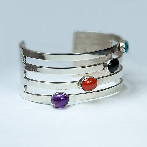 Carlos Diaz Sterling Multi Stone Bracelet BR-0112