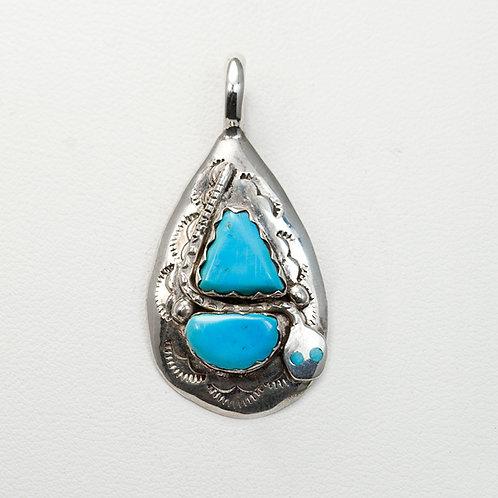 Zuni Effie Calavaza Turquoise Pendant PE-0022