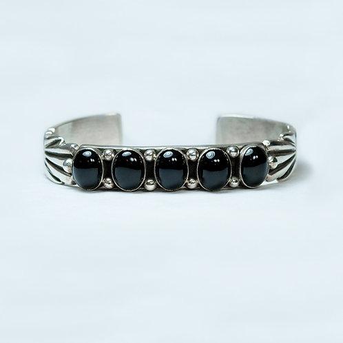 Nicole Begay Sterling Onyx Bracelet BR-0096