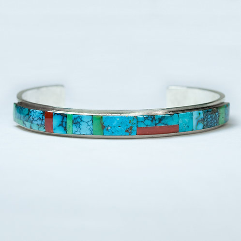 Zuni Sterling Turquoise & Coral Bracelet BR-0092