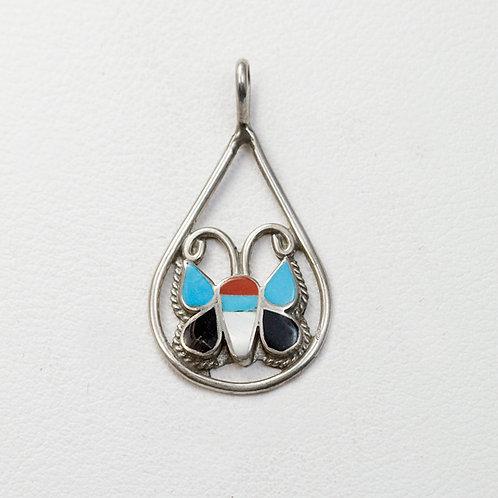 Zuni Sterling Butterfly Pendant PE-0023