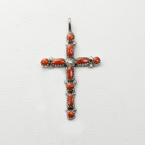 Zuni Coral Cross PE-0046
