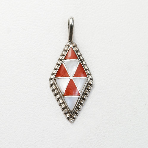 Zuni Coral & Mother of Pearl Inlay Pendant PE-0032