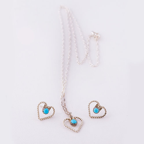 Navajo Sterling and Turquoise Heart Pendant and Earring Set ER-0092
