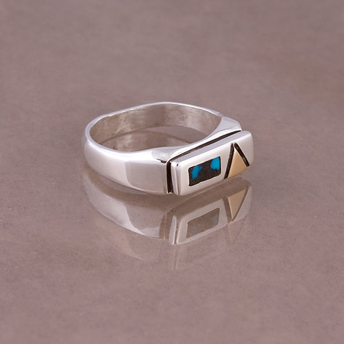 Ron Henry Sterling/14k Turquoise Ring RG-0018