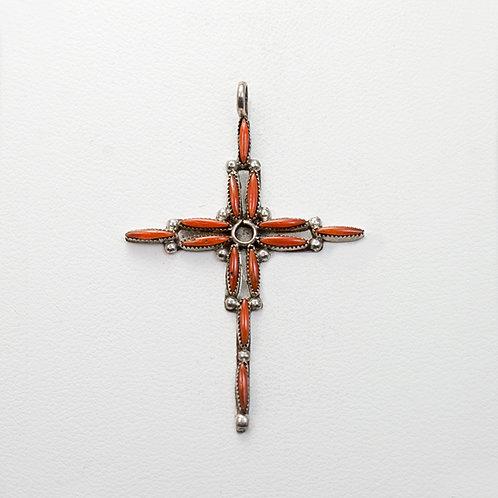 Zuni Coral Cross PE-0051