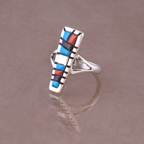 Ron Henry Sterling/14k Multi Inlay Ring RG-0012