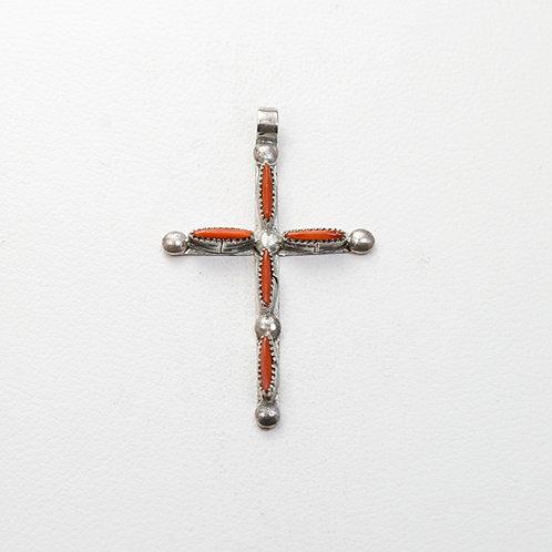 Zuni Coral Cross PE-0065