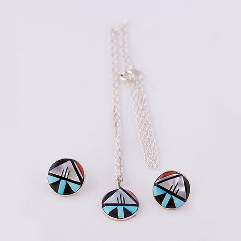 Zuni Earrings and Pendant Set  ER-0089