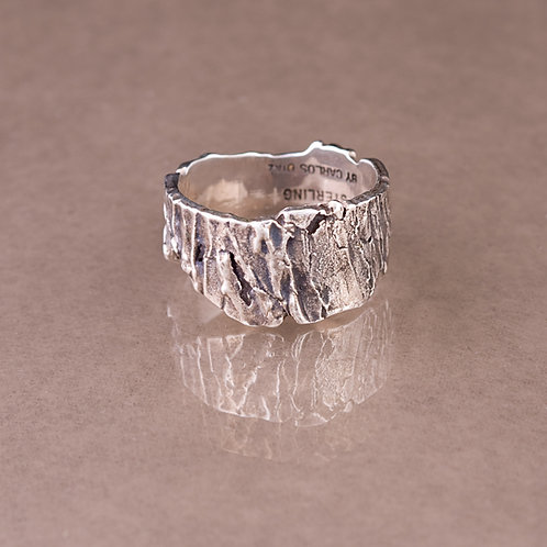 Carlos Diaz Sterling Tree Bark Ring RG-0107