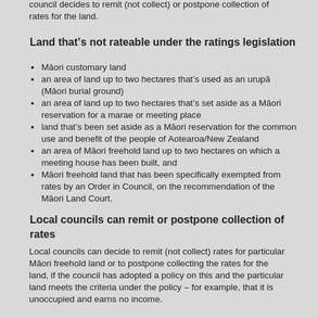 Maori Land & Rates