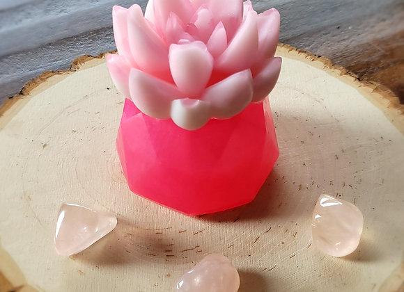 Rose Quartz Crystal Succulent Soap