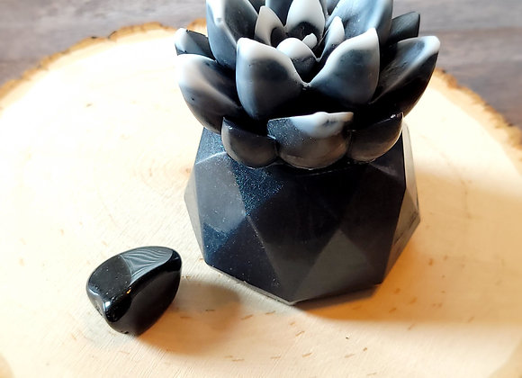 Black Obsidian Crystal Succulent Soap