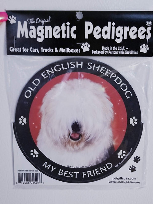 Old English Sheepdog Magnet 3.5""