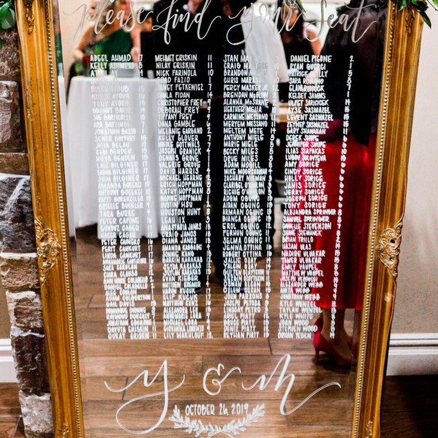 Gold Seating Chart Mirror $75.00