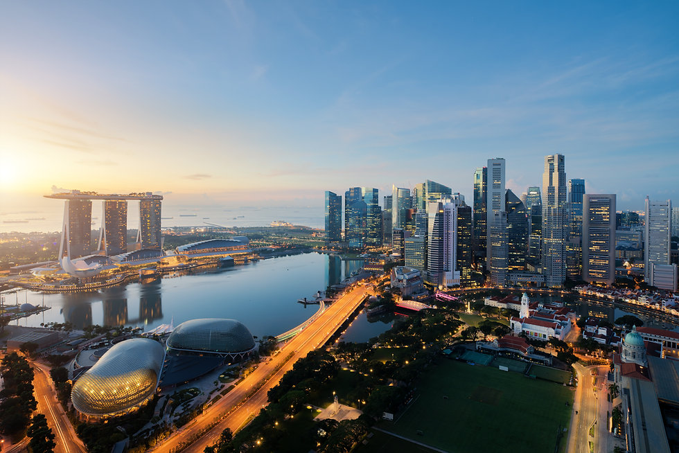 Aerial view of Singapore business distri