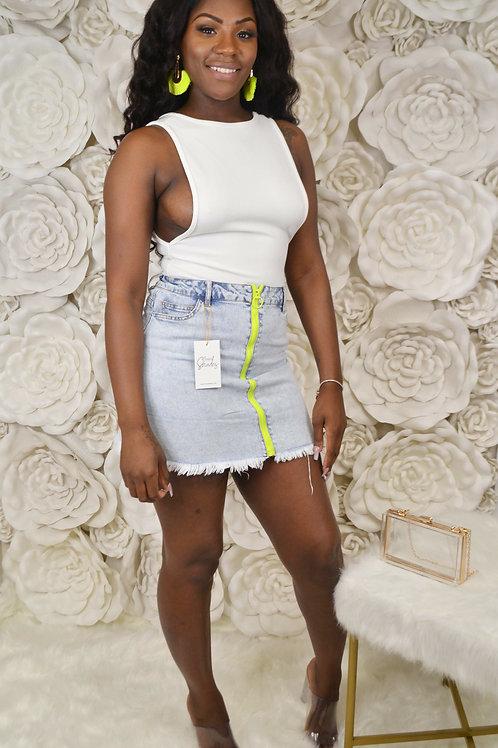 Neon Zipper Denim Skirt