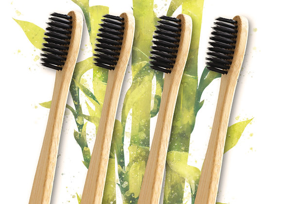 Eco Bamboo Toothbrush Plastic Free 4 Pack- with Activated Charcoal Bristles!