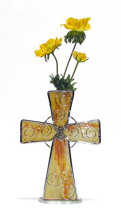 BO88 Centro de mesa cruz de vitral