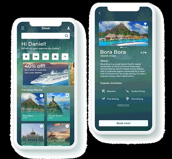 WanderTravel App mockup design - Rapidalley