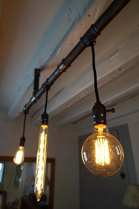 Lustre tuyaux 4 ampoules vintage