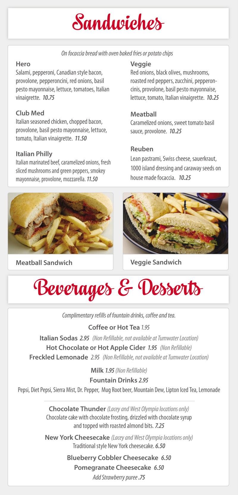 Sandwiches, Beverages and Dessert