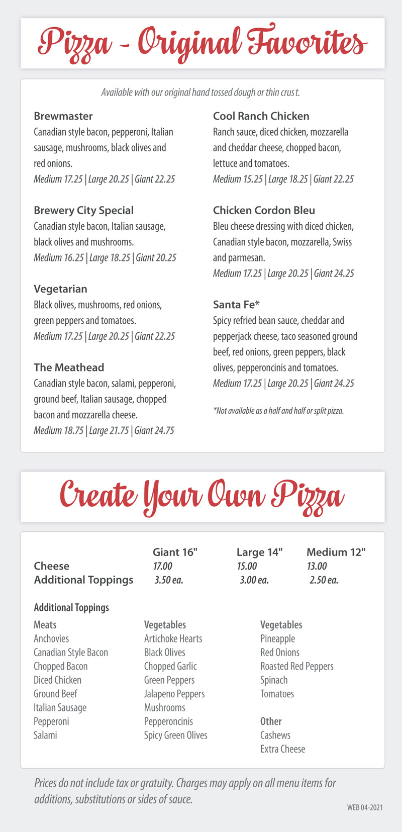 Pizza Original Favs and Create Your Own