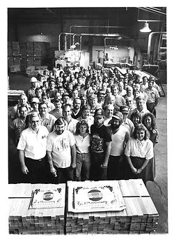 Group photo of Kimball office furniture employees from the 1970's