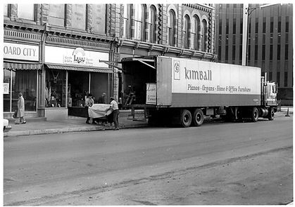 Kimball piano being delivered to a customer
