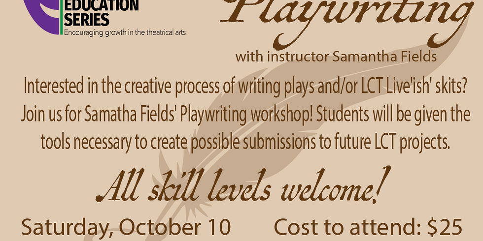 Adult Education Class Playwriting 101