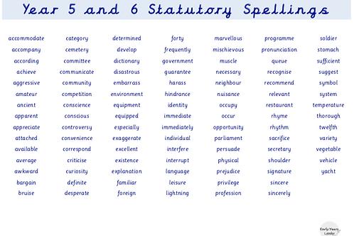 Year 5 and Year 6 Statutory Spellings