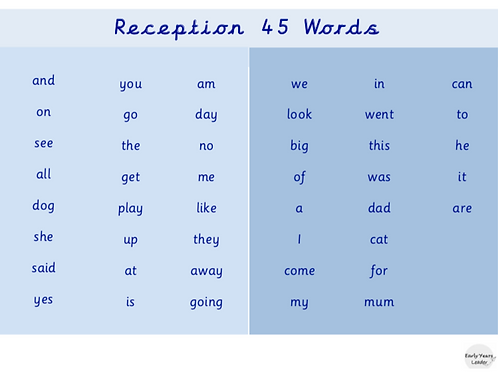 Reception List of 45 Words