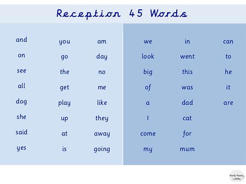 Reception 45 Words Word Mat