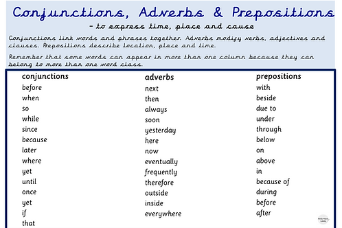 Conjunctions, Adverbs & Prepositions Year 3 - 6