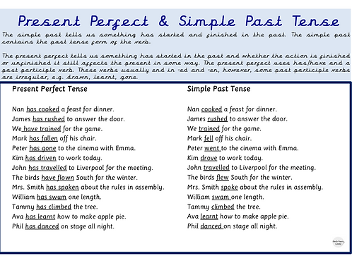 Simple Past Tense & Present PerfectYear 3 - 6