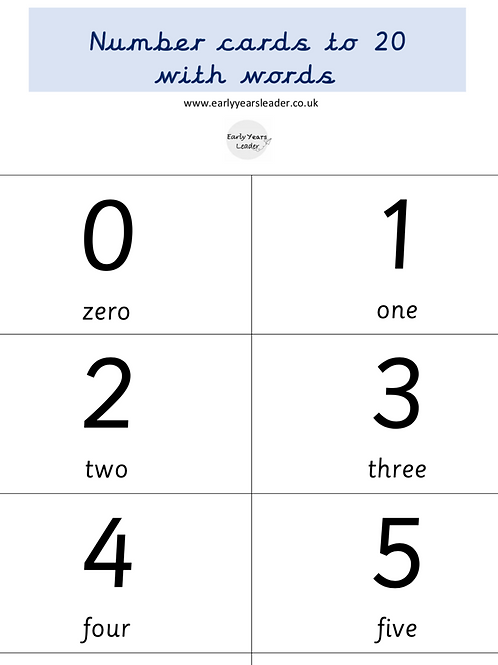 Numbers to 20 with written words