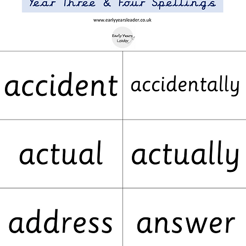 Year 3 and Year 4 Spellings Flashcards
