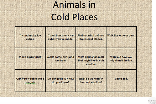 Home Learning Animals in Cold Places