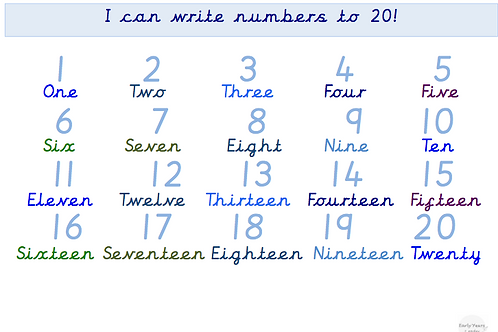 Numbers to 20 including words