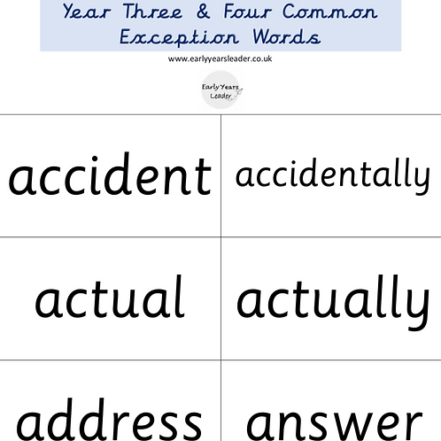 Year 3 and Year 4 Common Exception Flashcards