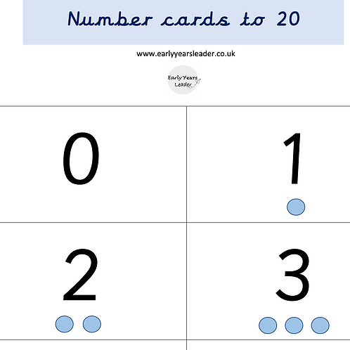 Numbers cards to 20 with quantity dots