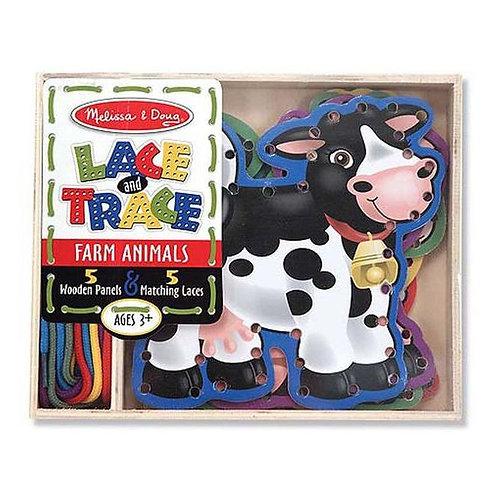 Melissa & Doug Wooden Panel & Laces Farm Set