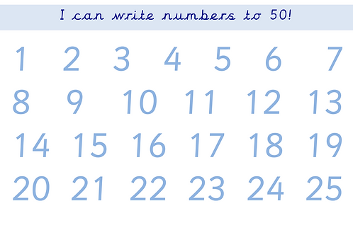 I can write numbers to 50!