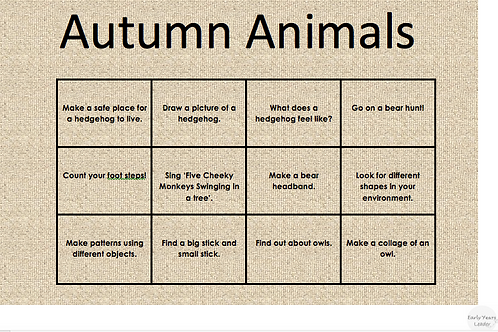 Home Learning Autumn Animals